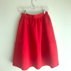 Red Fit and Flare Skirt